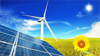 Wind turbines and solar panels for energy saving