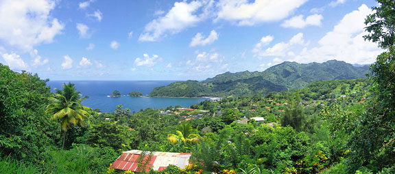 Panoramic View of Castle Bruce, Dominica